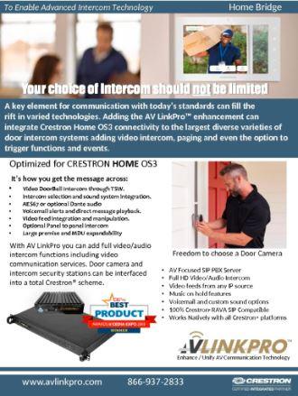 AV LInkPro for Crestron  Home OS3 Video Intercom