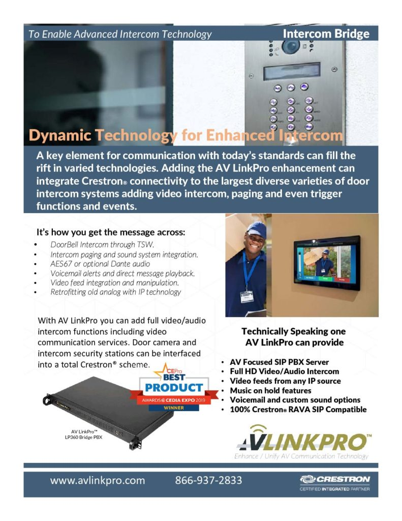 AV LInkPro for Crestron Video Intercom
